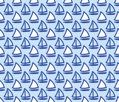 Blue Sailboats fabric by argenti on Spoonflower - custom fabric