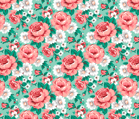 Floral with Roses in Mint fabric by caja_design on Spoonflower - custom fabric