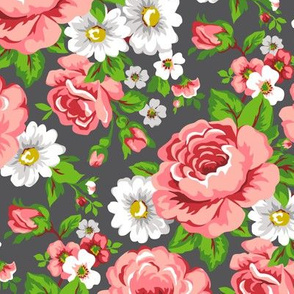 Floral with Roses in Dark Grey