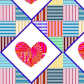 Psycho Delicious Hearts - Wholecloth Quilt