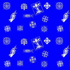 Orthodox Symbols - Large Blue/White