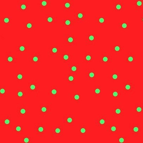 Small Scale Rowan Dots Green on Red