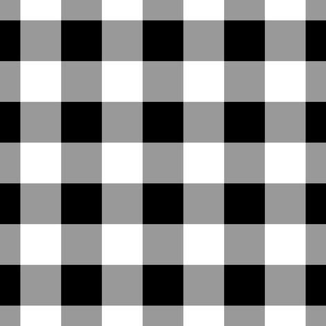 Gingham ~ Black and White and Grey All Over ~ One Inch fabric by peacoquettedesigns on Spoonflower - custom fabric
