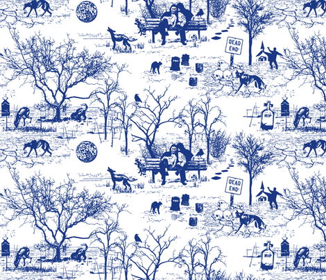 Zombie Dog Park Toile fabric by mariafaithgarcia on Spoonflower - custom fabric