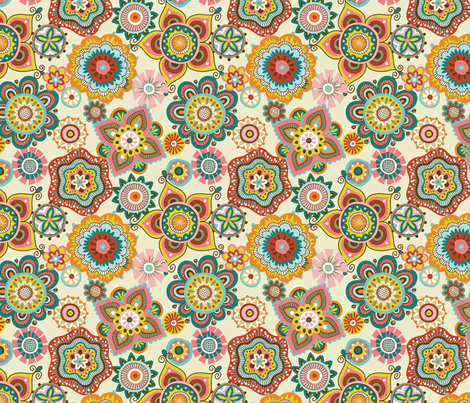Folky Dokey-Boho-Adventure colorway fabric by groovity on Spoonflower - custom fabric
