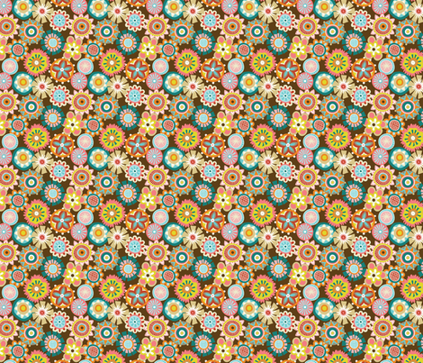 Folky Dokey-Buttons in Chocolate-Adventure colorway fabric by groovity on Spoonflower - custom fabric