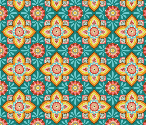 Folky Dokey-Ceramique in Dark Cyan-Adventure colorway fabric by groovity on Spoonflower - custom fabric