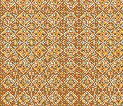 Folky Dokey-Ceramique in Rust-Believe colorway fabric by groovity on Spoonflower - custom fabric