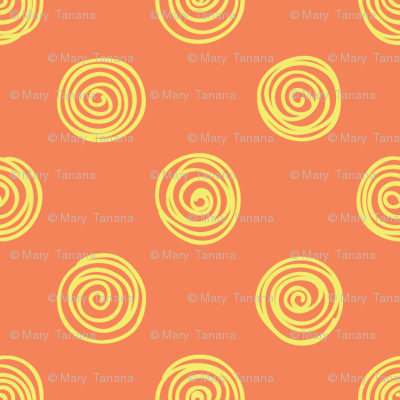 Folky Dokey-Spirals in Mango-Believe colorway