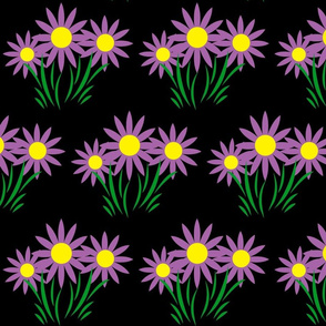 Danita's Purple Flowers on Black