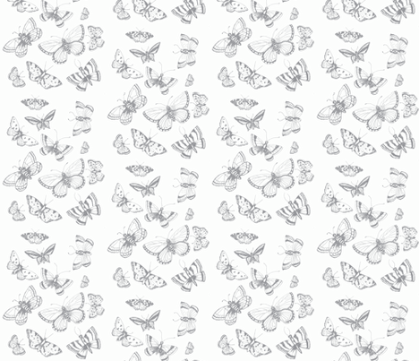 butterfly kisses gray fabric by jennifer_rizzo on Spoonflower - custom fabric