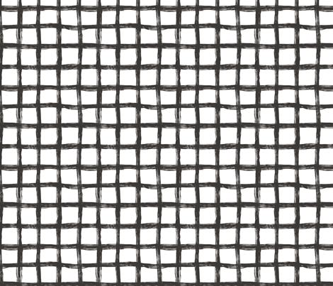 Hand Drawn Grid black&White fabric by caja_design on Spoonflower - custom fabric