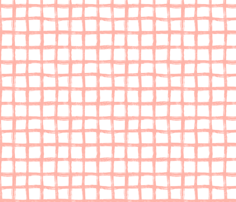 Hand Drawn Grid Peach fabric by caja_design on Spoonflower - custom fabric