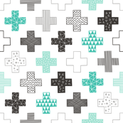 Crosses Plus Sign Black&White and Mint Green