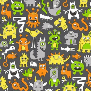 Monsters Orange Yellow Green on Black