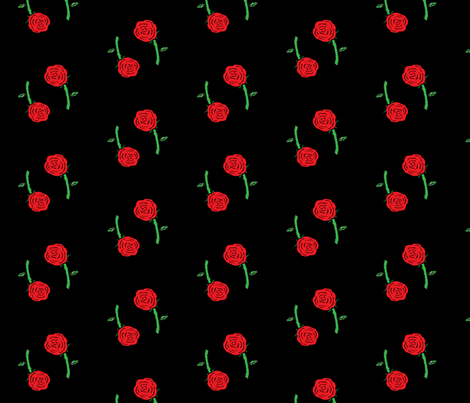 Danita's Twin Roses on Black fabric by midcoast_miscellany on Spoonflower - custom fabric