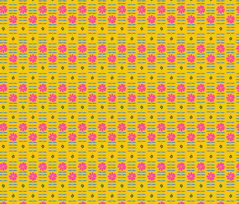 BETTY FLORAL yellow pink fabric by lenazembrowskij on Spoonflower - custom fabric