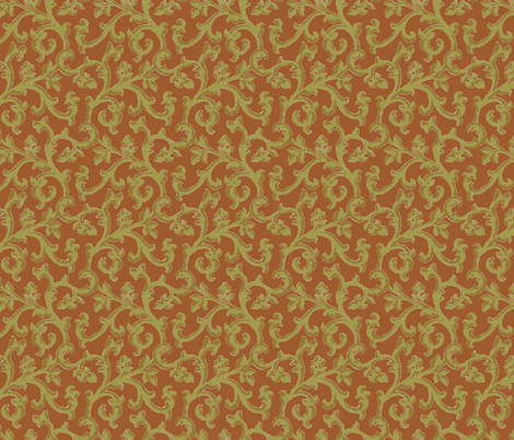 Brick___Khaki_Scroll fabric by kelly_a on Spoonflower - custom fabric