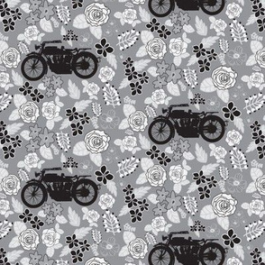 Vintage Motorcycle on Grey Floral // Extra Small