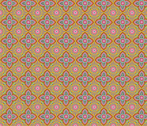 Folky Dokey-Ceramique in Marigold-Celebrate colorway fabric by groovity on Spoonflower - custom fabric