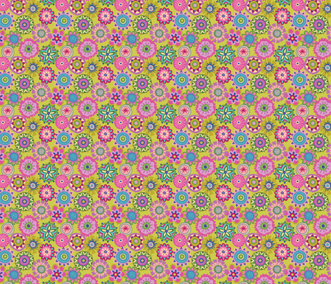 Folky Dokey-Buttons in Lime-Dream colorway fabric by groovity on Spoonflower - custom fabric