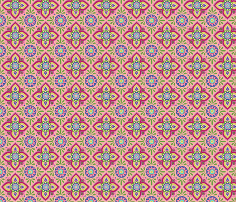 Folky Dokey-Ceramique in Pink-Dream colorway fabric by groovity on Spoonflower - custom fabric
