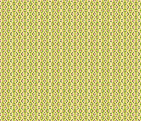 Folky Dokey-Golly Ogee in Lime-Dream colorway fabric by groovity on Spoonflower - custom fabric