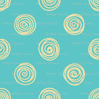 Folky Dokey-Spirals in Turquoise-Dream colorway