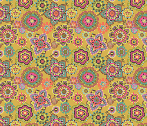 Folky Dokey-Boho-Gypsy Soul colorway fabric by groovity on Spoonflower - custom fabric