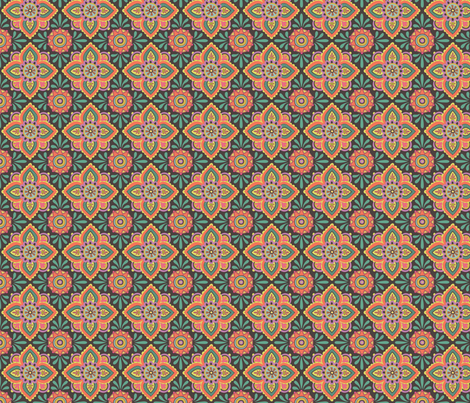 Folky Dokey-Ceramique in Chocolate-Gypsy Soul colorway fabric by groovity on Spoonflower - custom fabric