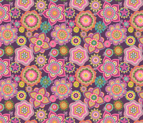 Folky Dokey-Boho-Imagine colorway fabric by groovity on Spoonflower - custom fabric