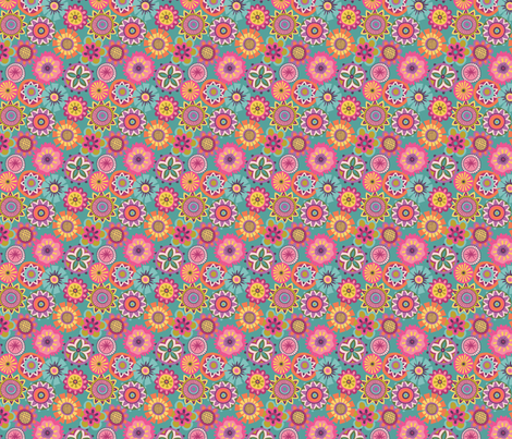 Folky Dokey-Buttons in Ocean-Imagine colorway fabric by groovity on Spoonflower - custom fabric