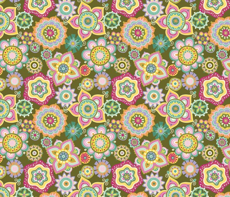Folky Dokey-Boho-Serenity colorway fabric by groovity on Spoonflower - custom fabric