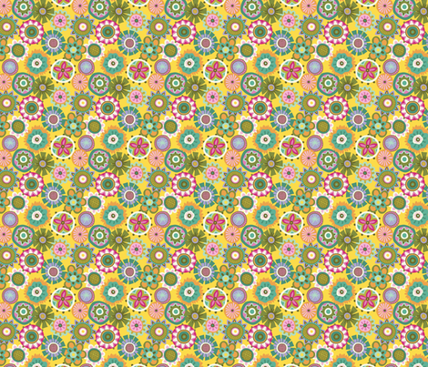 Folky Dokey-Buttons in Yellow-Serenity colorway fabric by groovity on Spoonflower - custom fabric
