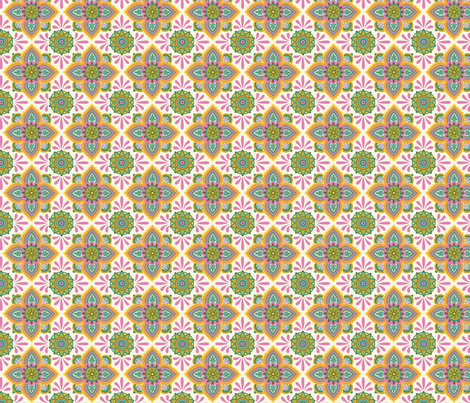 Folky Dokey-Ceramique in Cream-Serenity colorway fabric by groovity on Spoonflower - custom fabric