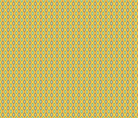 Folky Dokey-Golly Ogee in Yellow-Serenity colorway fabric by groovity on Spoonflower - custom fabric