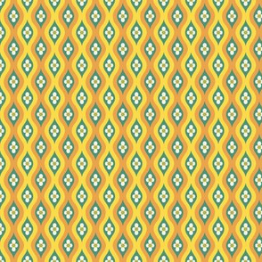 Folky Dokey-Golly Ogee in Yellow-Serenity colorway