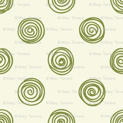 Folky Dokey-Spirals in Cream-Serenity colorway