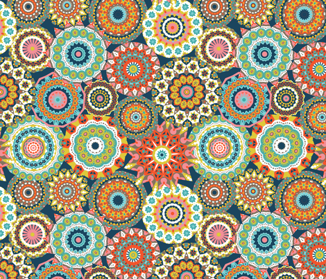 Millefiori Mandalas_Retro colorway fabric by groovity on Spoonflower - custom fabric