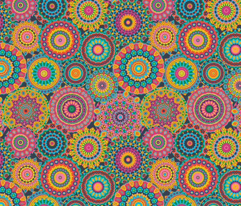 Millefiori Mandala_Eden Colorway fabric by groovity on Spoonflower - custom fabric