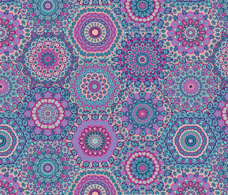 Granny's Hexagon Cheater Quilt_Berry Good Colorway fabric by groovity on Spoonflower - custom fabric