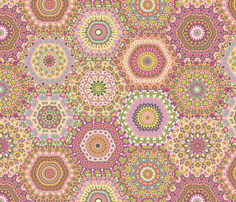 Granny's Hexagon Cheater Quilt_Candy Colorway fabric by groovity on Spoonflower - custom fabric