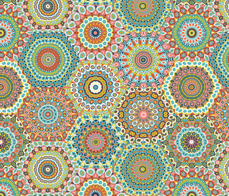 Granny's Hexagon Cheater Quilt_Retro Colorway fabric by groovity on Spoonflower - custom fabric