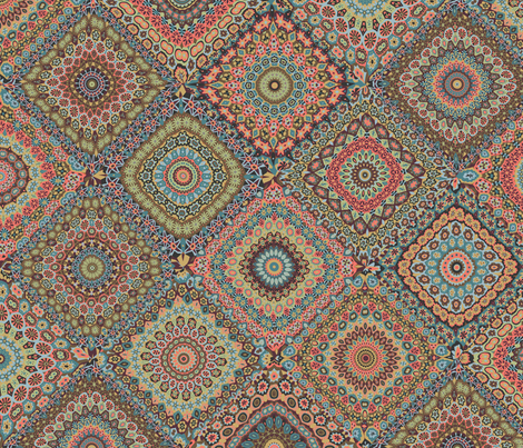 Granny's Cheater Quilt_Vintage colorway fabric by groovity on Spoonflower - custom fabric
