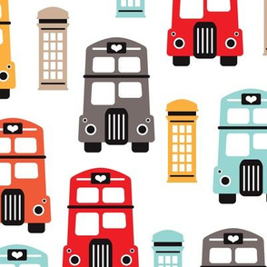 Vivid gender neutral London UK travel icons double decker bus and telephone booth illustration kids pattern