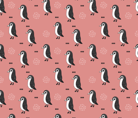 Adorable baby penguin geometric birds illustration and cross and arrow details pattern fabric by littlesmilemakers on Spoonflower - custom fabric