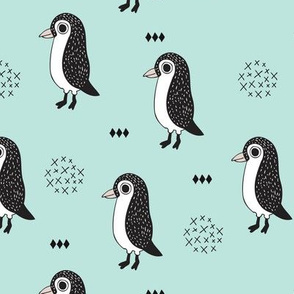 Adorable baby penguin geometric birds illustration and cross and arrow details pattern winter mint blue