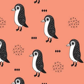Adorable baby penguin geometric birds illustration and cross and arrow details pattern rusty orange