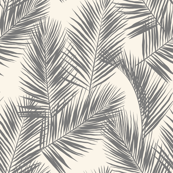 palm leaves - gray on cream, small. silhuettes tropical forest gray off-white hot summer palm plant tree leaves fabric wallpaper giftwrap