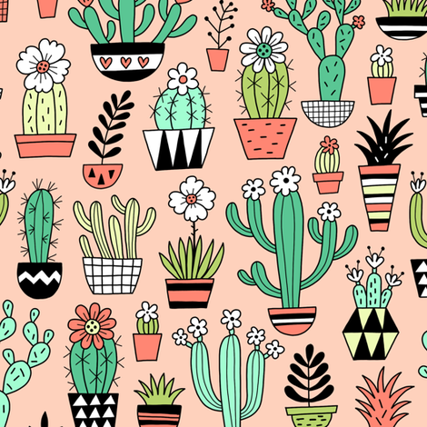 blooming succulents - peach fabric by mirabelleprint on Spoonflower - custom fabric